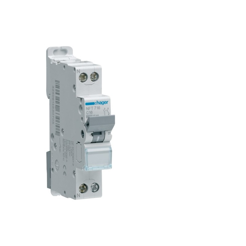 Hager - {reference} - Disjoncteur modulaire 1P+N 6-10kA C-16A 1m