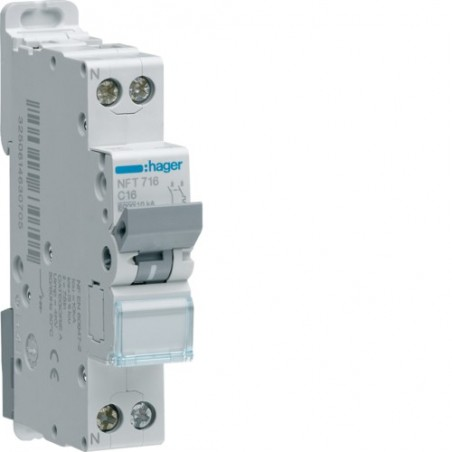 Hager - {reference} - Disjoncteur modulaire 1P+N 6-10kA C-20A 1m
