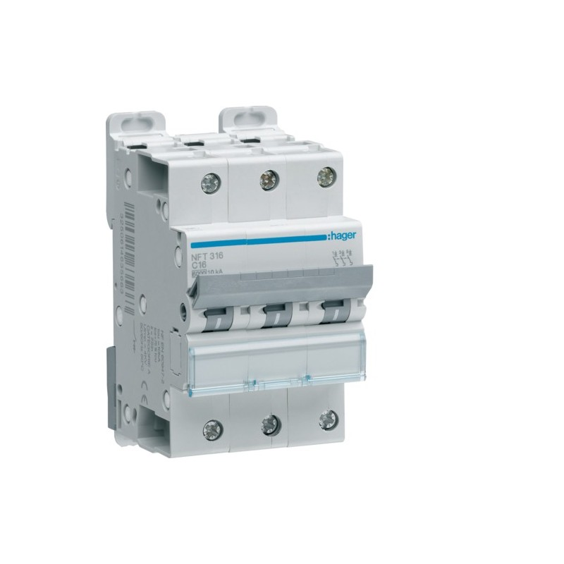 Hager - {reference} - Disjoncteur modulaire 3P 6-10kA C-16A 3m
