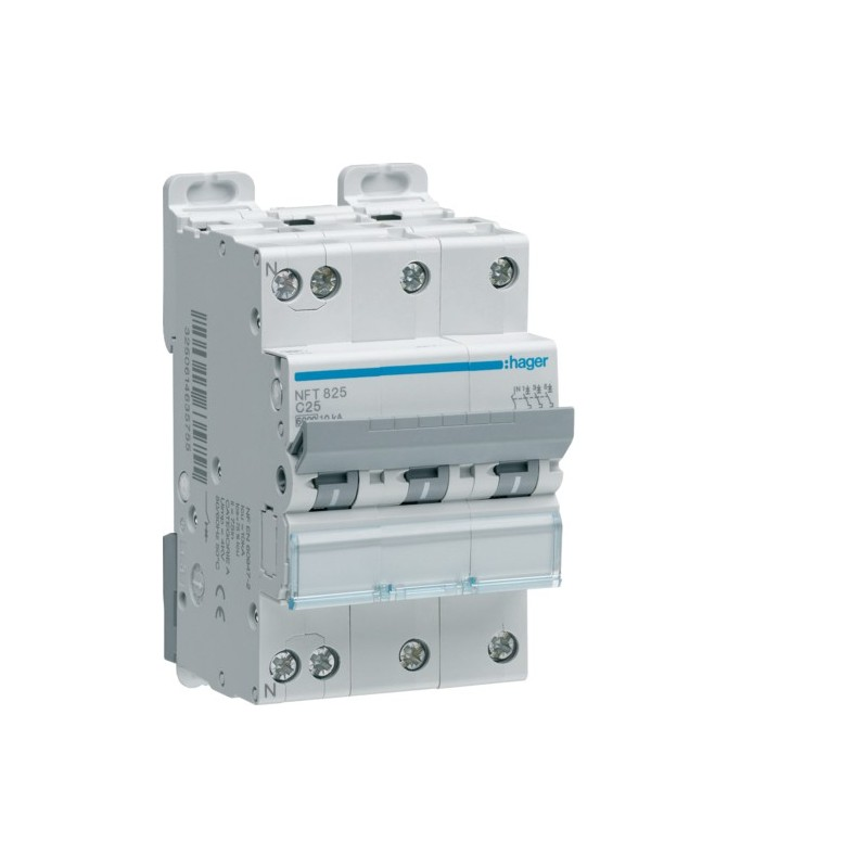 Hager - {reference} - Disjoncteur modulaire 3P+N 6-10kA C-25A 3m