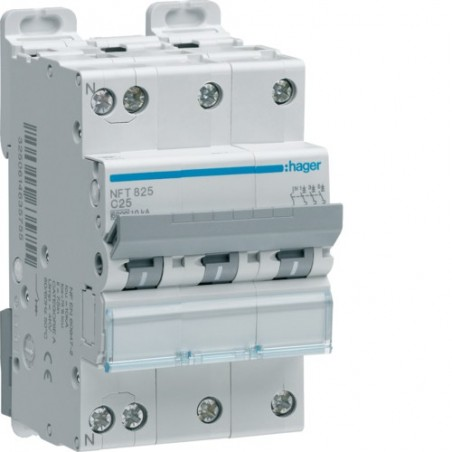 Hager - {reference} - Disjoncteur modulaire 3P+N 6-10kA D-10A 3m