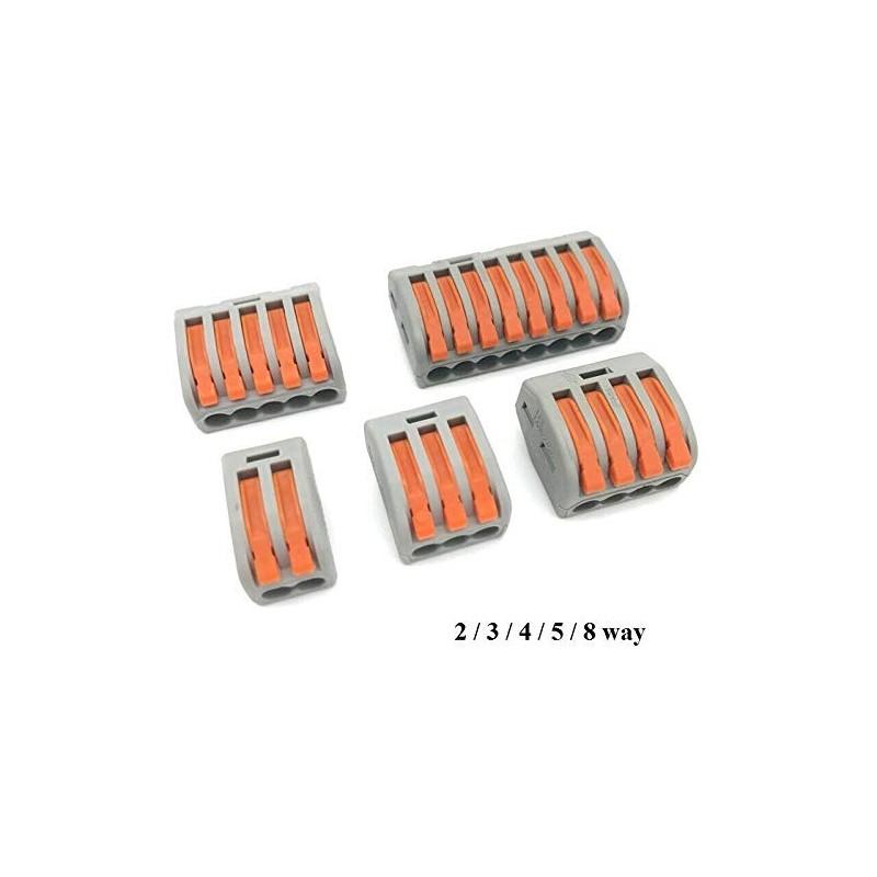 Wago 222 [5 connexions] Lot de 10 connecteurs à ressort réutilisables