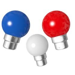 Lot de 3 ampoules bleu blanche rouge B22...