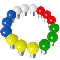 Lot de 15 ampoules bleues blanches rouge vertes...