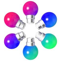 Lot de 6 ampoules RGB Incassables avec culot en...
