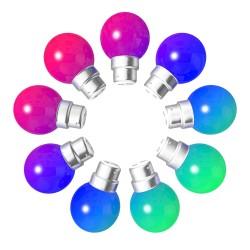 Lot de 9 ampoules RGB Incassables avec culot en...