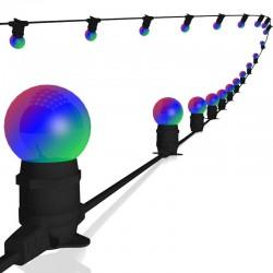 Rêvenergie - {reference} - Guirlande guinguette extérieure lumineuse 20 ampoules B22 RGB 10m