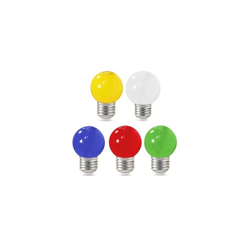 Ampoule LED E27 Bulb G45 1W Blister x 5 couleurs