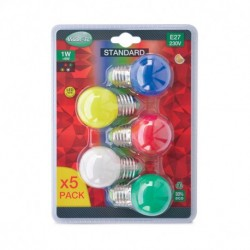 Miidex Lighting - {reference} - Ampoule LED E27 Bulb G45 1W Blister x 5 couleurs