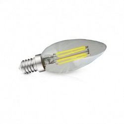 Miidex Lighting - {reference} - Ampoule Led E14 Filament Flamme  4W 4000°K Blister x 3