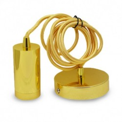 DOUILLE E27 METAL CYLINDRE OR + CABLE 2 M
