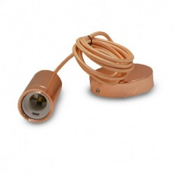 DOUILLE E27 METAL CYLINDRE ROSE OR + CABLE 2 M