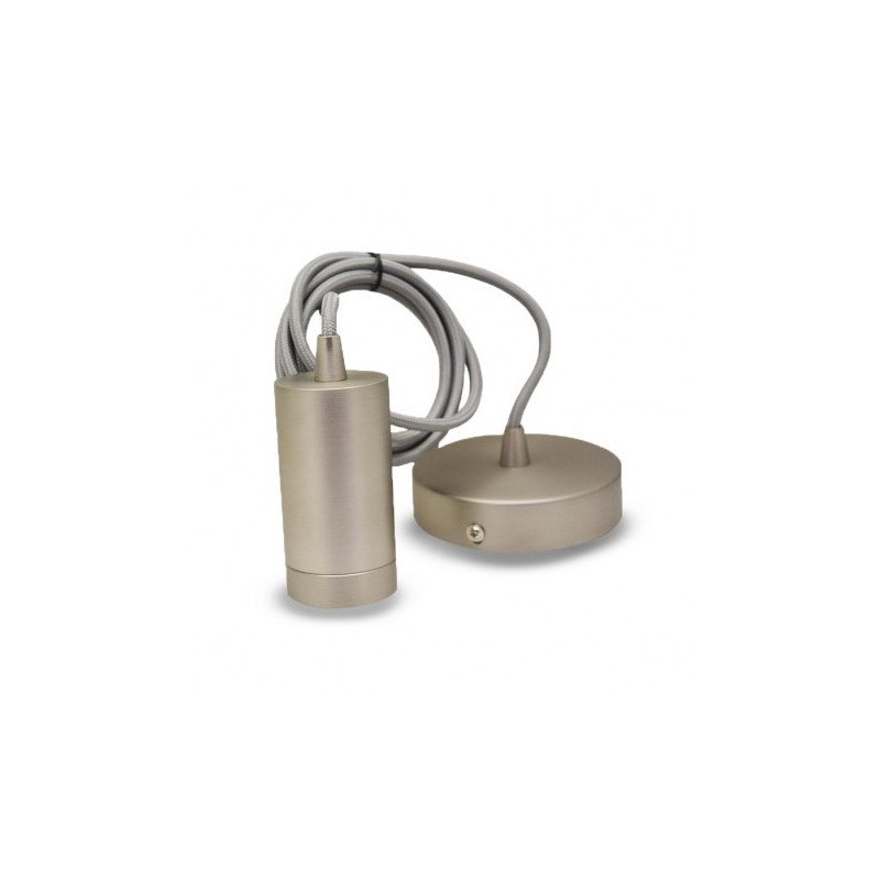 Miidex Lighting - {reference} - DOUILLE E27 METAL CYLINDRE MAT NICKEL + CABLE 2 M