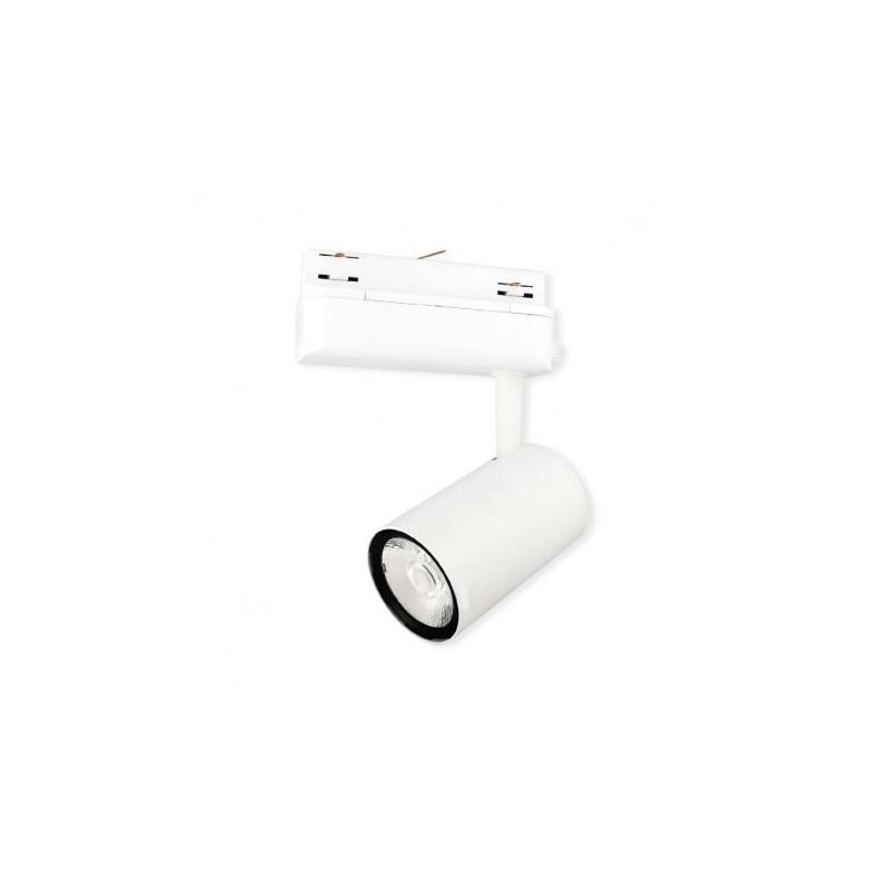 Spot LED sur Rail Blanc 25W 3000°K 2200 LM + adaptateur rail 3 allumages