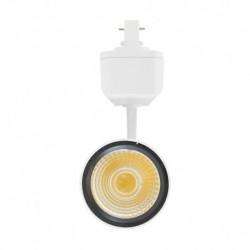 Miidex Lighting - {reference} - Spot LED sur Rail Blanc 25W 3000°K 2200 LM + adaptateur rail 3 allumages
