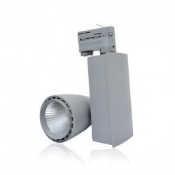 Miidex Lighting - {reference} - Spot LED sur Rail avec Adaptateur 3 allumages Gris 40W 3000°K
