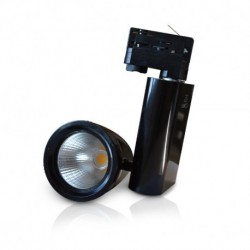 Spot LED sur Rail avec Adaptateur 3 allumages Noir 35W 3000°K