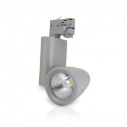 Miidex Lighting - {reference} - Spot LED sur Rail avec Adaptateur 3 allumages Gris 30W 3000°K