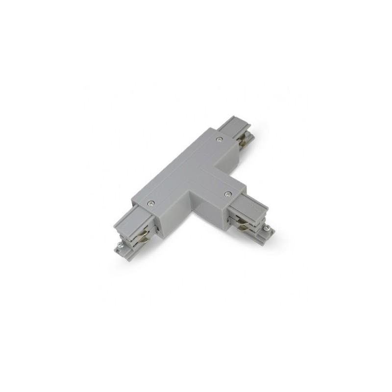 Miidex Lighting - {reference} - Connecteur Triphase Forme T Circuit Extérieur Gauche Gris