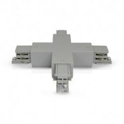 Miidex Lighting - {reference} - Connecteur Triphase Croix X Gris