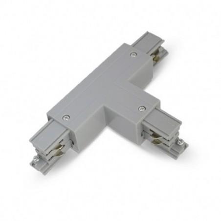 Miidex Lighting - {reference} - Connecteur Triphase Forme T Circuit Intérieur Gauche Gris