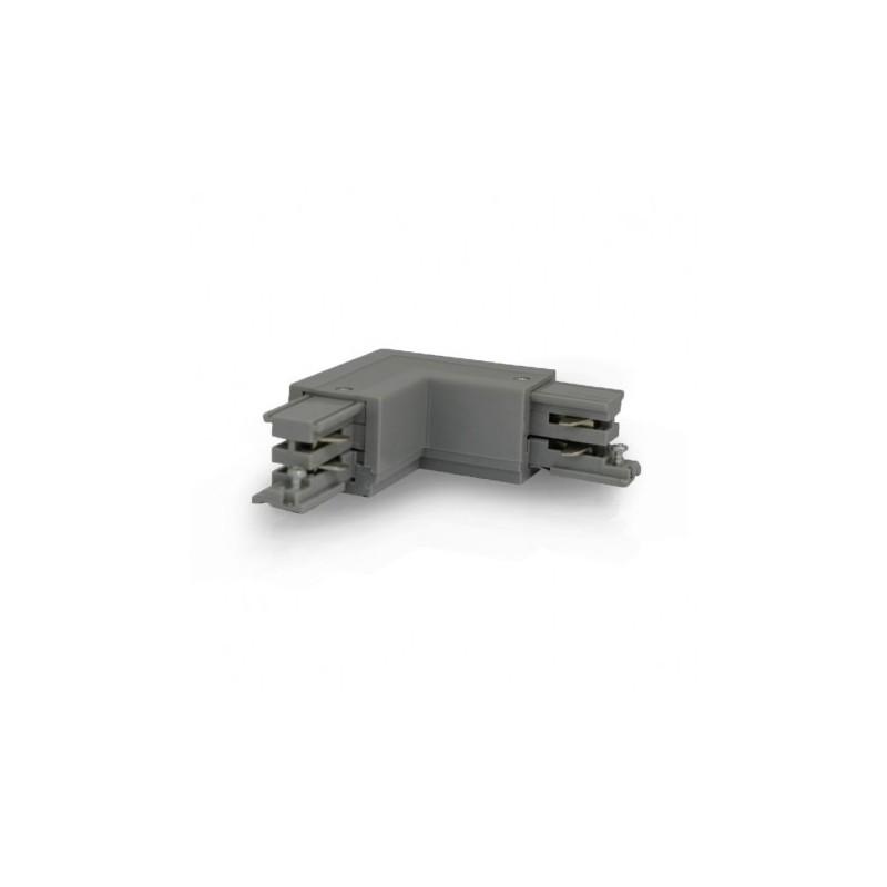 Miidex Lighting - {reference} - Connecteur Triphase Coude L Circuit Extérieur Gauche Gris