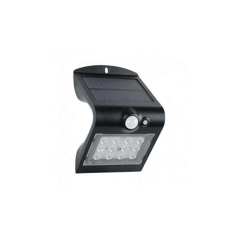 Applique Murale LED Solaire 1.5W 4000°K Noir + Détecteur