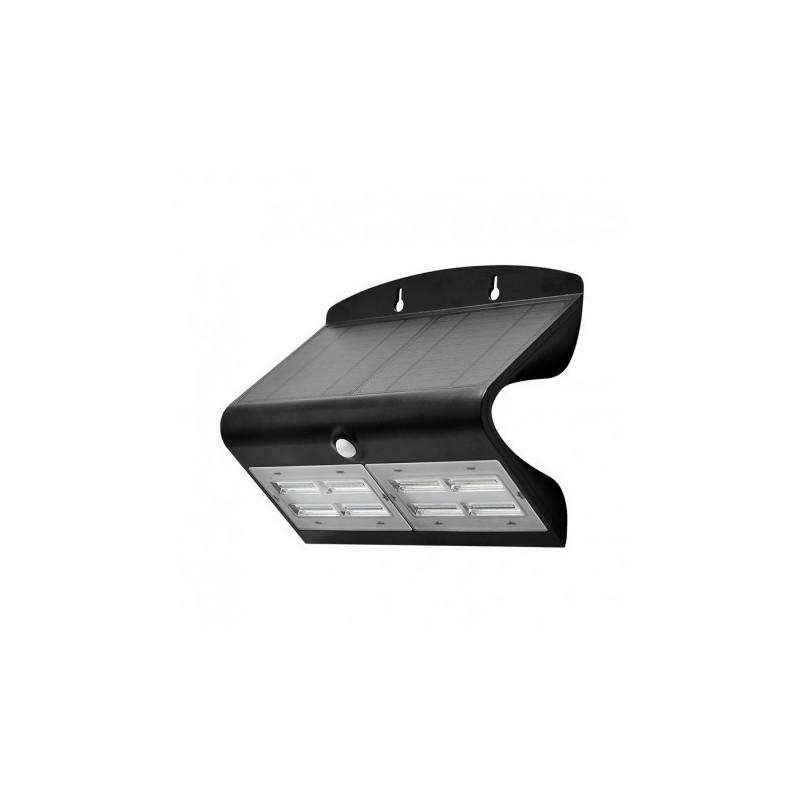 Applique Murale LED Solaire 6.8W 4000°K Noir + Détecteur