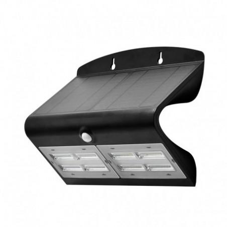 Miidex Lighting - {reference} - Applique Murale LED Solaire 6.8W 4000°K Noir + Détecteur