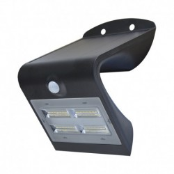 Applique Murale LED Solaire 3.2W 4000°K Noir + Détecteur