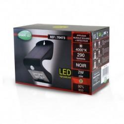 Miidex Lighting - {reference} - Applique Murale LED Solaire 2W 4000°K Noir + Détecteur