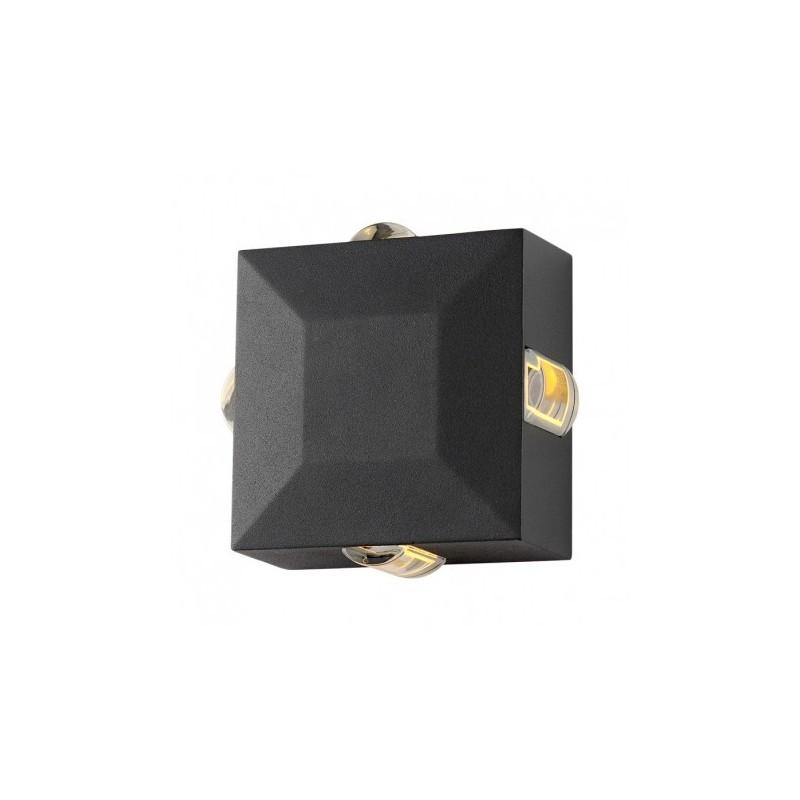 Miidex Lighting - {reference} - Applique Murale Carré LED 6W 470 LM Diffuseur 4000°K Gris IP54