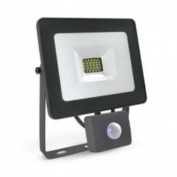 Miidex Lighting - {reference} - Projecteur Exterieur LED + Détecteur 20W 3000K Plat Gris