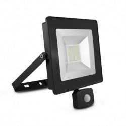 Miidex Lighting - {reference} - Projecteur Exterieur LED Plat Gris avec Détecteur 50W 6000K