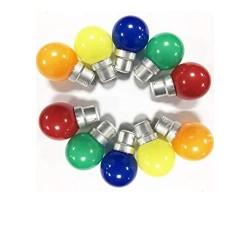Pack 10 Ampoules LED B22 1W Sphériques Colorées...