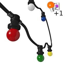Rêvenergie - {reference} - Guirlande Guinguette 10m 20 ampoules multicolore B22 chainable étanche