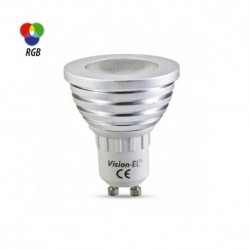 Miidex Lighting - {reference} - Ampoule LED Spot GU10 3W RGB Dimmable +Télécommande IR