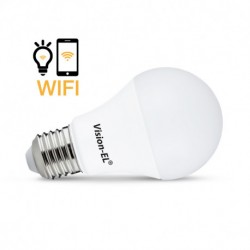 Miidex Lighting - {reference} - Ampoule LED E27 Connectée WIFI 9W CCT + RGB