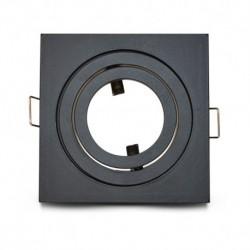 Miidex Lighting - {reference} - Support de spot carré aluminium Noir Mat Orientable 88x88 mm
