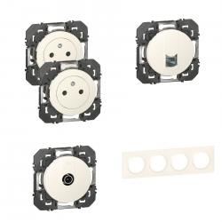 Legrand | Pack Dooxie 2x2P+T + RJ45 + TV + Plaque 4P