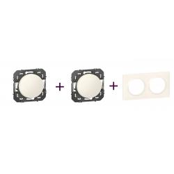 Legrand | Dooxie - Pack va-et-vient + Poussoir + plaque 2P Blanc