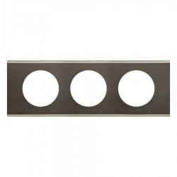 Legrand - 069033 - Plaque Céliane Matières 3 postes - finition Black Nickel