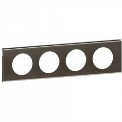 Legrand - 069034 - Plaque Céliane Matières 4 postes - finition Black Nickel