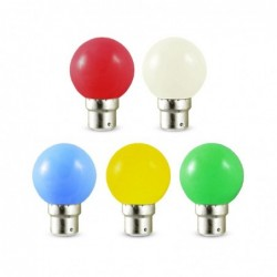 Miidex Lighting - {reference} - LED 1 W BULB B22 X 5 COULEURS BLISTER