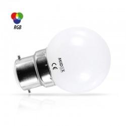 Miidex Lighting - {reference} - LED 1 W BULB B22 RGB DEPOLI BOITE