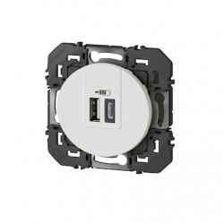 DOOXIE CHARGEUR 2 USB A+C 3A 15 W BLANC