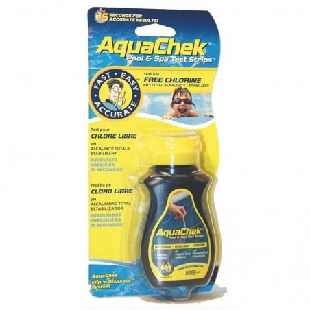 AquaChek - 50 Bandelettes d'analyse piscine Testeur 4 en 1 Aquachek Chlore/pH Jaune/Bleu