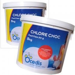 OCEDIS Chlore CHOC (pastilles de 20g) 5Kg lot de 2 pièces